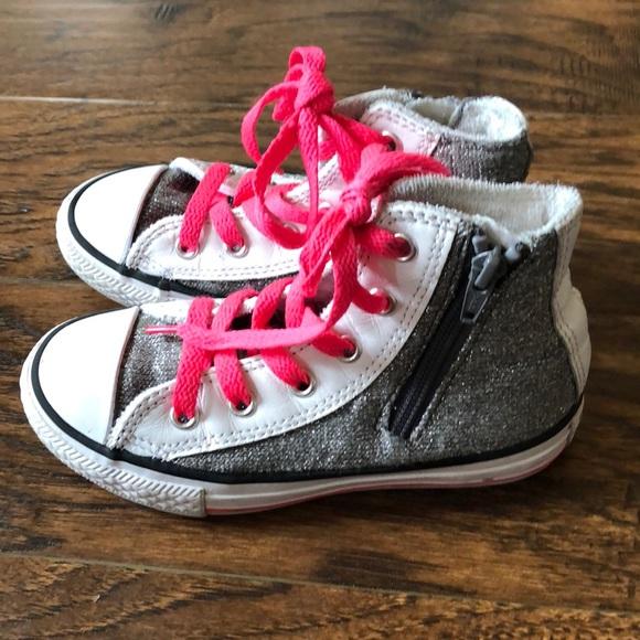 infant silver glitter converse